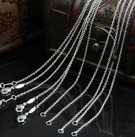 Wholesale Bulk 1MM Silver Plated Chain Necklace Round Rolo Chain Lobster Clasp