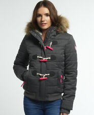 New Womens Superdry Marl Toggle Puffle Jacket Black Marl