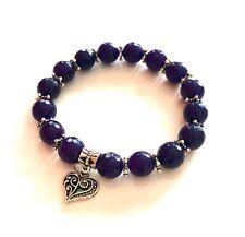 Handmade Faceted Purple Gemstone Beaded Stretch Bracelet Vintage Heart Charm