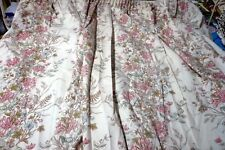 """One pair of snow white floral Unlined curtains 65"""" w by 52"""" drop 3"""" header tape"""