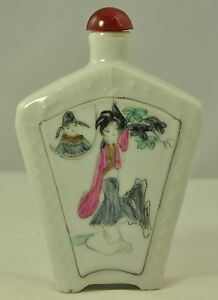 Chinese Famille Rose porcelain subtly erotic snuff bottle with stopper