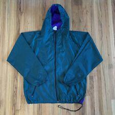 Vintage 90's Helly Hansen Green Full Zip Nylon Rain Windbreaker Jacket Size L