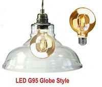 LED Vintage Glass Shade Pendant Ceiling Light Traditional Heritage Antique Style