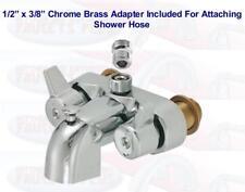 "3-3/8"" Chrome Heavy Brass Clawfoot Tub & Shower Diverter Add-A-Shower Faucet"