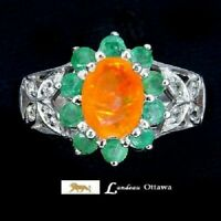 3.8 ct Fire Opal With Emeralds Topaz Silver Ring