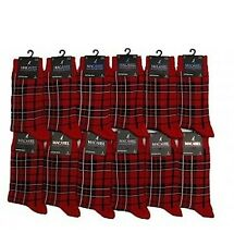 MENS RED TARTAN PLAID CHECK ANKLE SOCKS - SIZE: UK 6-11-HIGHLAND SCOTTISH SCOTS