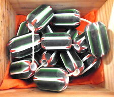 1 Stück Chevron Perle Glas grün weiß matt gestreift ca 25x15 mm Glasperle