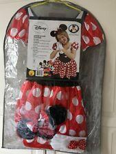 Rubies Disney Minnie Mouse Costume Dress Gloves Ears Headband  Size 8 (S) + Wig