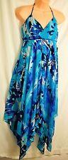 womens JENNIFER LOPEZ sexy turquoise dress size 8 hankerchief hemline  MSRP $70