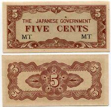 JAPANESE OCCUPATION MALAYA 5 CENTS P M2 MT PREFIX AU-UNC