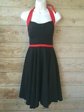 Rockabilly Dress M Black Red Swing Halter Bettie Page Vintage Stop Pinup Staring