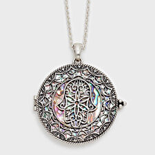 """Hamsa Hand Evil Eye Charm Necklace SILVER Magnifying Glass 33"""" Protect Abalone"""