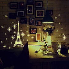 Paris Eiffel Tower Under Starry Sky Luminous Wall Sticker DIY Bedroom Art Decal
