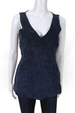 Ecru Womens V Neck Suede Linen Tank Top Blue Size Extra Small