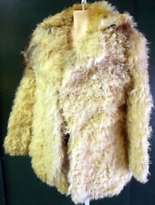 Mongolian Fur tibetan cream pea coat jacket hair lamb long brown white ski real