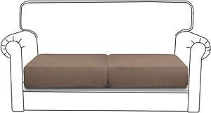 Easy Going Sofa Cushion Slipcovers 2 pc Loveseat Cushion, Taupe, Elastic Bottom