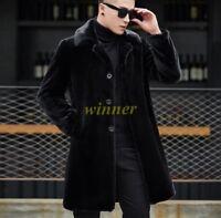 Hot Winter Mens Mink Fur Warm Coat jacket Lapel Collar Mid Long Parka Outwear sz