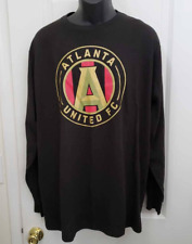 Atlanta United FC Mens Graphic T-Shirt Black Gold Long Sleeves Crew Neck 2XL New