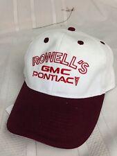 Rowells GMC Pontiac Hat Cap Car Truck Strapback Local Car Dealership Advertising