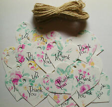 25 Vintage Style Large Pink Rose Heart Tags 'Thank You'  Wedding Favours