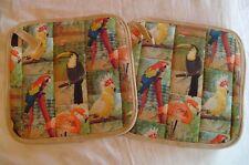 2 Handmade Pot Holders - Colorful Exotic Birds Parrots & Flamingos - 100% Cotton