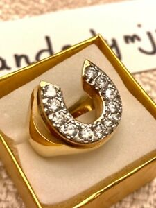 NEW Vintage Lucky Horseshoe Gold Filled & Faux Diamond Ring Size 10.5 VERY NICE!