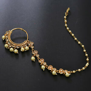 Ethnic Indian Bollywood AD Gold Plated Pearl Nath Nose Chain Ring Kundan Jewelry