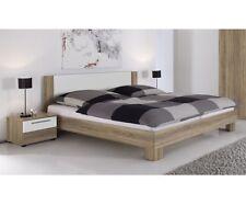Bettanlage Bett Doppelbett 180 x 200 cm & 2 Nachtkommoden Eiche / Weiß