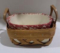 """Henn Workshops Pottery Serving Dish Red Sponge & Serving Basket 6"""" Square"""