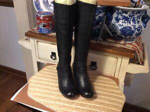 Corso Como Black Leather Knee-high Low Heel Boots Zip Up Women's Sz 6.5 M Brazil
