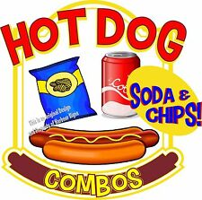 """Hot Dogs Soda Combos Decal 14"""" Restaurant Food Truck Concession Vinyl Sticker"""