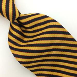 Brooks Brothers Tie Gold Black Red Stripes Silk Necktie I17-116/F Vintage/Rare