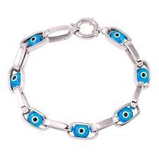 14k White Gold Blue Evil Eye Chain Link Bracelet Good Luck Gold Bracelet