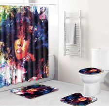 Black Woman w/ Afro Multicolored Bathroom Shower Curtain Toilet Cover Rug Set
