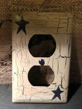 Primitive Crackle Tan & Navy Blue Star Outlet / Plugin Wall Plate