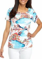 Kim Rogers Women's Petite Size Short Sleeve Grom Frame Tee Turquoise-coral Large