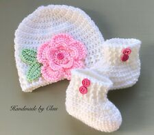 Handmade crochet hat and booties- Baby shoes beanie Cap - girl- 0-3 months White