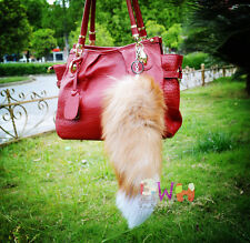 Real Gold Fox Tail Fur Key Chain Ring Bag Accessories Hook Tassels Cospaly Toy