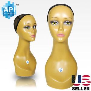"Realistic Plastic Female MANNEQUIN head lifesize display wig hat 18"" C3"