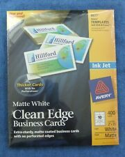 Avery 8877 Clean Edge White 400 Business Cards 2 X 3 12 New Ink Jet