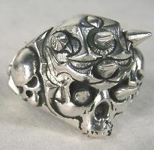 SPIKE SKULL HEAD BIKER RING mens jewelry BR261 silver rings SKELETON BIKER NEW