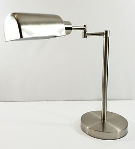 """MCM Style Metal Swing Arm Table/ Desk Lamp Adjustable Silver 17"""" Tall"""