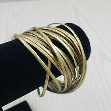 Gold Tone Multi Intertwined Bangle Cross Over Bracelet Chunky Fashion Jewelry