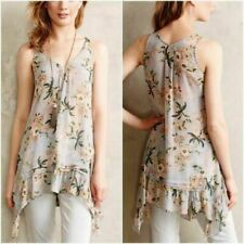 Maeve S anthropologie tank Magda grey ruffle tunic floral asymmetrical top