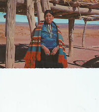 """Navajo Woman Dressed in Traditional Clothing  4""""x6""""  Edged Chrome  Postcard 4613"""