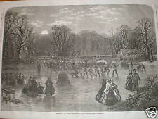 Skating by torchlight on Serpentine London 1859 print