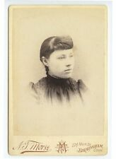 ANTIQUE CAB PHOTO OF YOUNG LADY IN DARK DRESS FROM BIRMINGHAM, CONN., STUDIO
