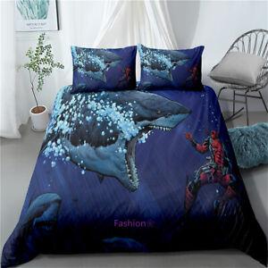 Doona/Duvet/Quilt Cover Single/Double/Queen/King Size Bed Set Shark Deadpool