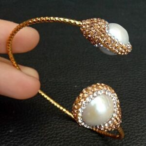 Cultured White Keshi PearlCz pave Gold plated Bangle Bracelet
