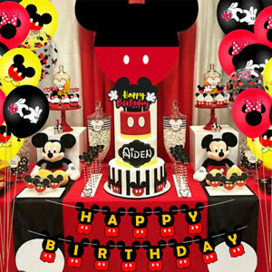 26Pcs Mickey Mouse theme birthday party balloon banner decoration cake top hat